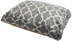 Gray Trellis Medium Rectangle Indoor Outdoor Pet Dog Bed Wit