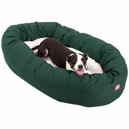 40 inch Green & Sherpa Bagel Dog Bed By Majestic Pet Product