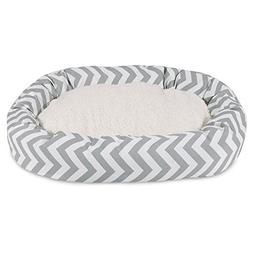 32 inch Grey Chevron Sherpa Bagel Dog Bed