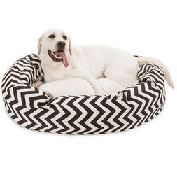 24 inch Grey Chevron Sherpa Bagel Dog Bed