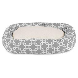 52 Inch Gray Links Sherpa Bagel Dog Bed