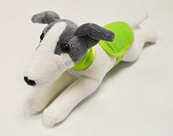 Greyhound with Green Collar & Coat Soft Toy - 23cm Beautiful