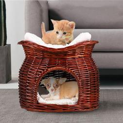 Handmade Wicker Basket Cat Bed Cave Dog Puppy House Pet Ratt