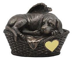 Ebros Heavenly Angel Labrador Dog Sleeping in Wicker Bed Bas
