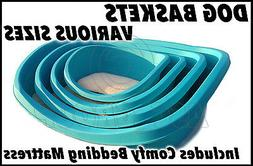 Heavy Duty Plastic Dog Bed  & Deluxe Bedding - SMALL 48CM