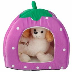 HOT Animal Pet Cat House Dog Soft Puppy Bed Strawberry Cave