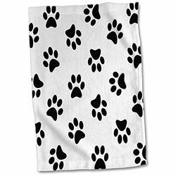 3D Rose Paw Print Pattern - Black Pawprints On White - Cute