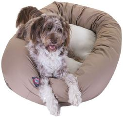 52 inch Khaki & Sherpa Bagel Dog Bed By Majestic Pet Product