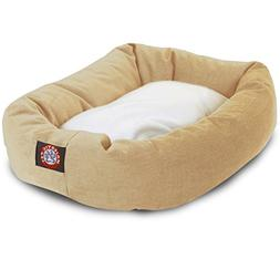 32 inch Khaki & Sherpa Bagel Dog Bed By Majestic Pet Product