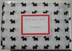 King Size Bed Sheet Set Black Scottie Dogs On White New Extr