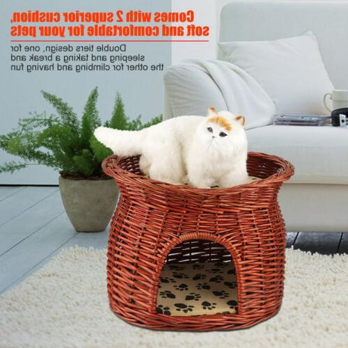 Pet Dog Cat Bed Puppy Wicker Cage House Pet Soft Warm Kennel
