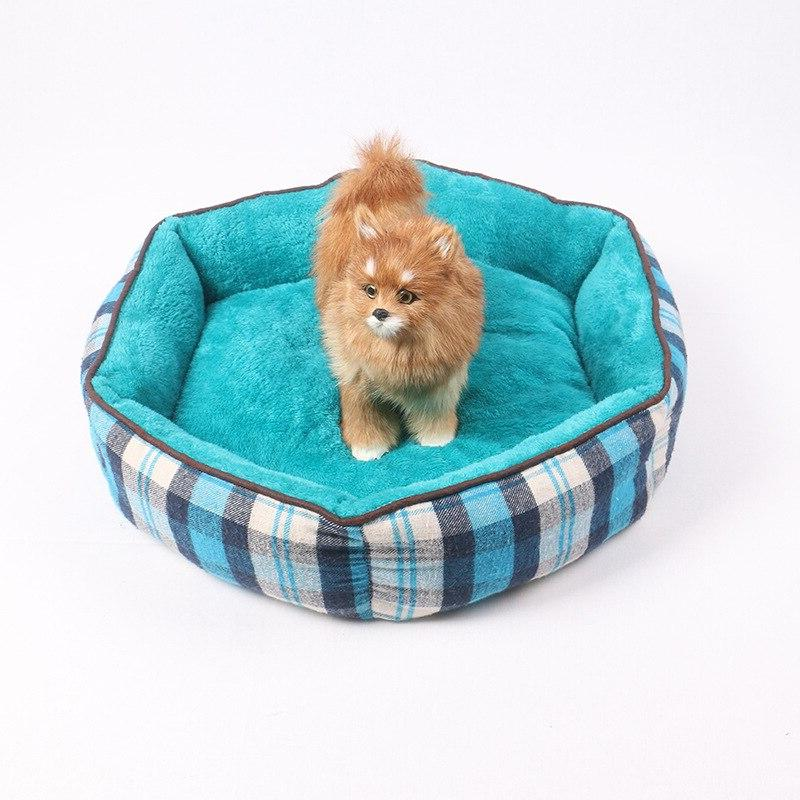 2018 Warm Pet <font><b>Dog</b></font> Soft Fleece Plaid Nest With Removable Pet Mat <font><b>Hexagon</b></font> Shape Kennel For Cat Puppy