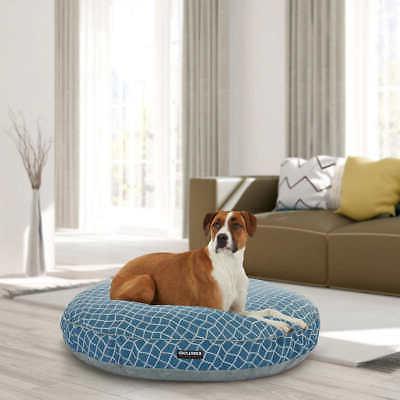 42 round dog bed blue