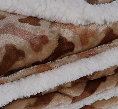 """Longrich Flannel Sherpa Throw L 50"""" W, Taupe"""