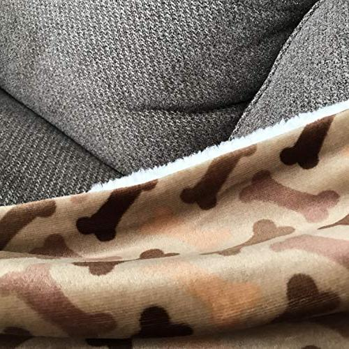 "Longrich Print & Ultra Soft Sherpa Blanket, 60"" L 50"" Taupe"