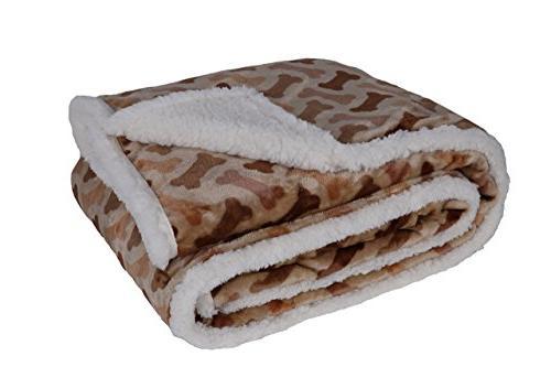 Longrich Flannel Dog Bone Print & Ultra Soft Sherpa Throw Bl