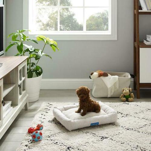 arlo medium brown plaid bolster dog bed