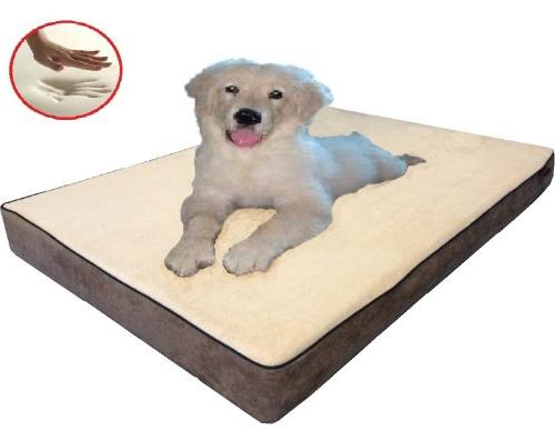 """ehomegoods 41""""X27""""X4"""" Beige Gusset Style Waterproof Memory dog size with 2 covers"""