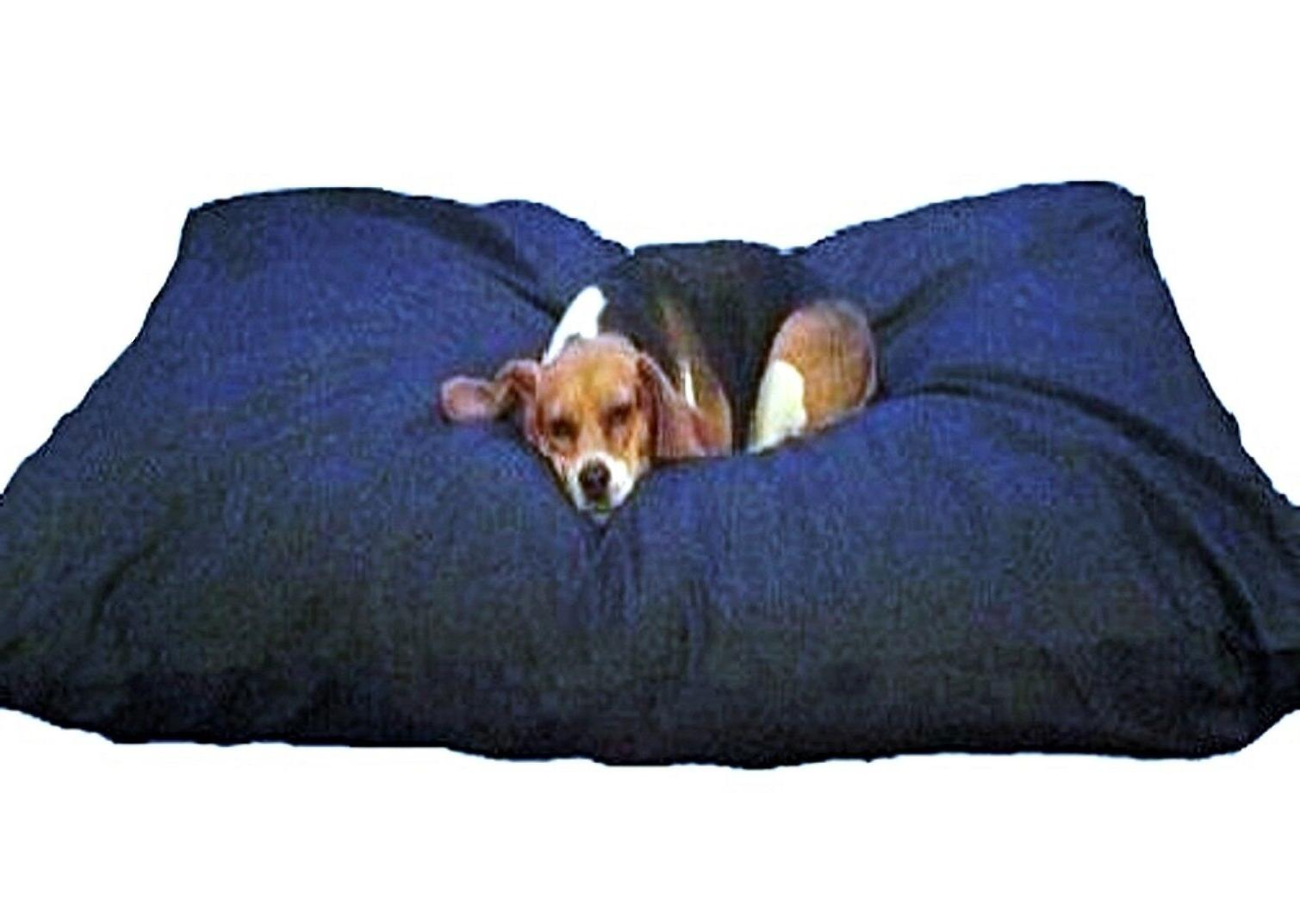 Blue Memory Foam Shredded Dog Bed Pillow, Waterproof liner,