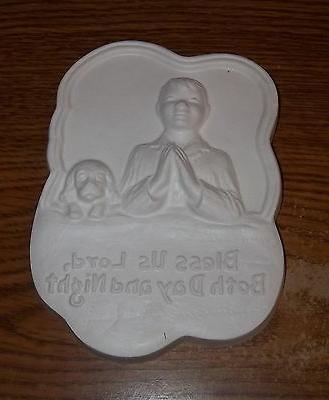 Boy & dog prayer plaque plaster of