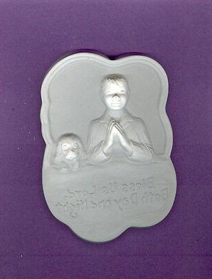 boy and dog bed prayer plaque painting