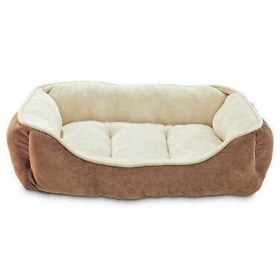 brown bolster dog bed
