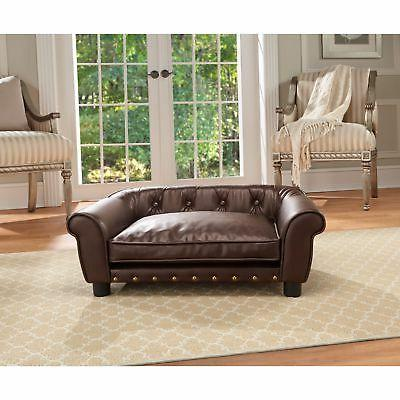 Brown Faux Leather Pet Bed Dog Cat Sleep