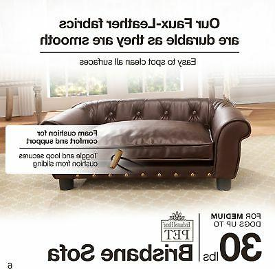 Brown Leather Tufted Pet Bed Dog Cat Sleep Couch