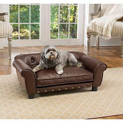 brown faux leather tufted pet sofa bed