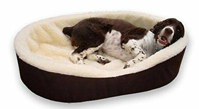 Large Brown/Imitation Lambswool Dog Bed. Outside Dim. 33x23x