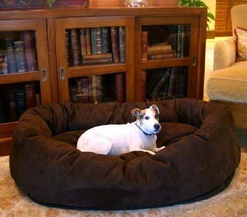 chocolate suede bagel dog bed