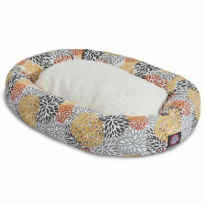 citrus blooms sherpa bagel dog bed by