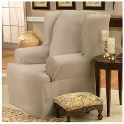 Cotton Duck Wing Chair T-Cushion Slipcover - Color: Natural