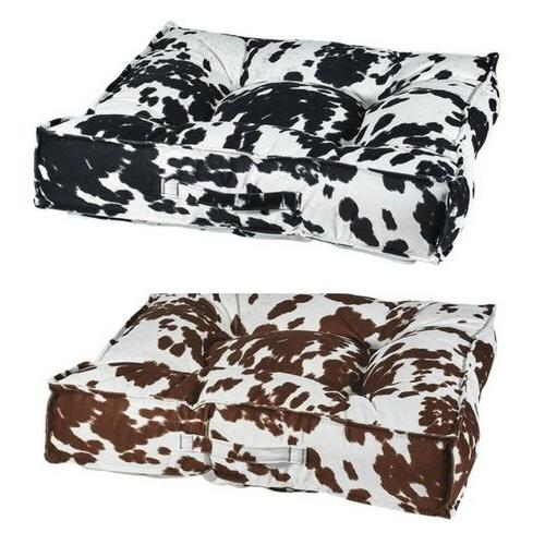 cow print microvelvet tufted square piazza dog