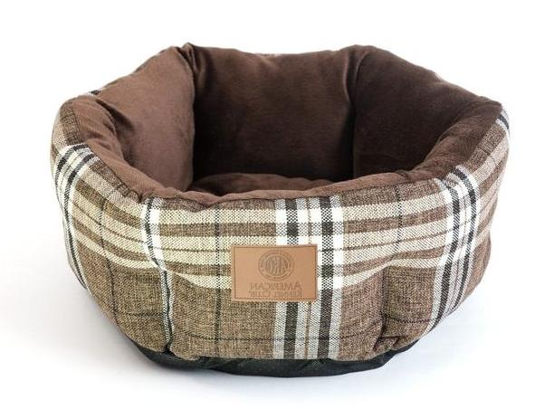 """NEW AKC Cozy Round Burlap Pet Bed 19"""" Snuggle Pet Bed for Do"""