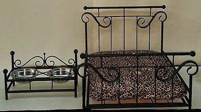 Custom Made Wrought Iron Dog/Cat Pet Bed & Feeder Combo