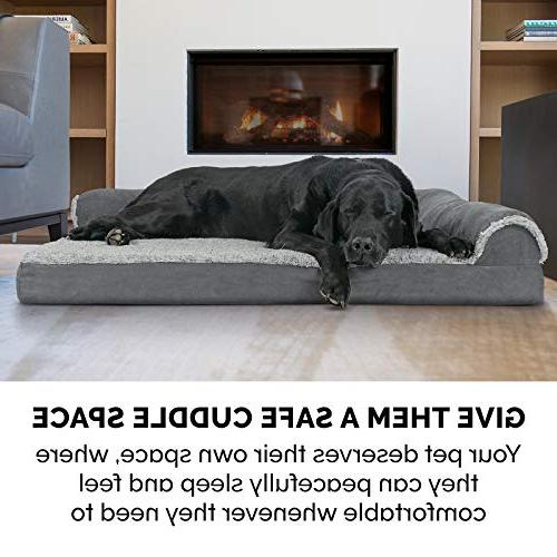 Furhaven Pet Dog | Deluxe Orthopedic Fur & Suede Chaise for Dogs &