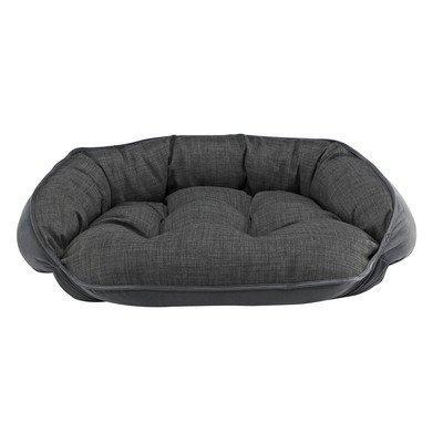 Diam Microvelvet Crescent Bolster Dog Bed, Large , Storm