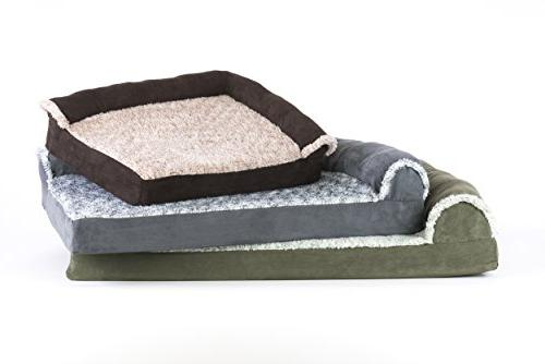 FurHaven | Orthopedic Faux Fur & L-Shaped Chaise for Dogs & Dark