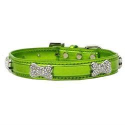 Dog Supplies Metallic Crystal Bone Collars Lime Green Small