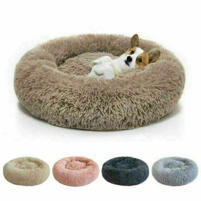 donut pet dog cat bed fluffy plush