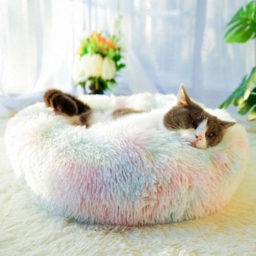Donut Dog Calming Sleeping Bed Warm Soft Plush Round Nest