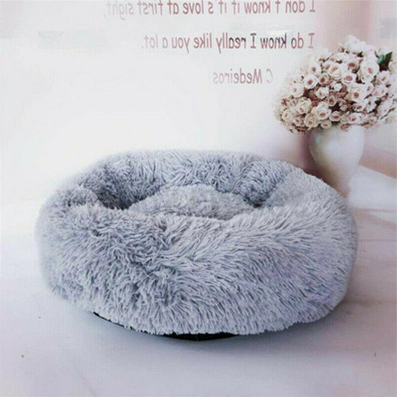 Donut Plush Cat Bed Fluffy Soft Warm Calming Kennel US