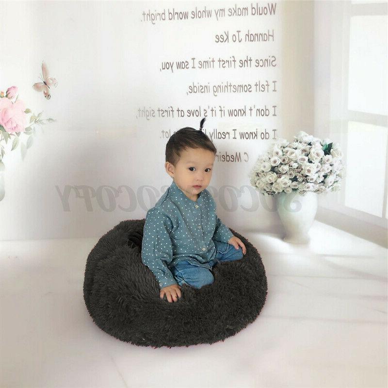 Donut Plush Pet Cat Bed Fluffy Warm Calming Kennel Nest