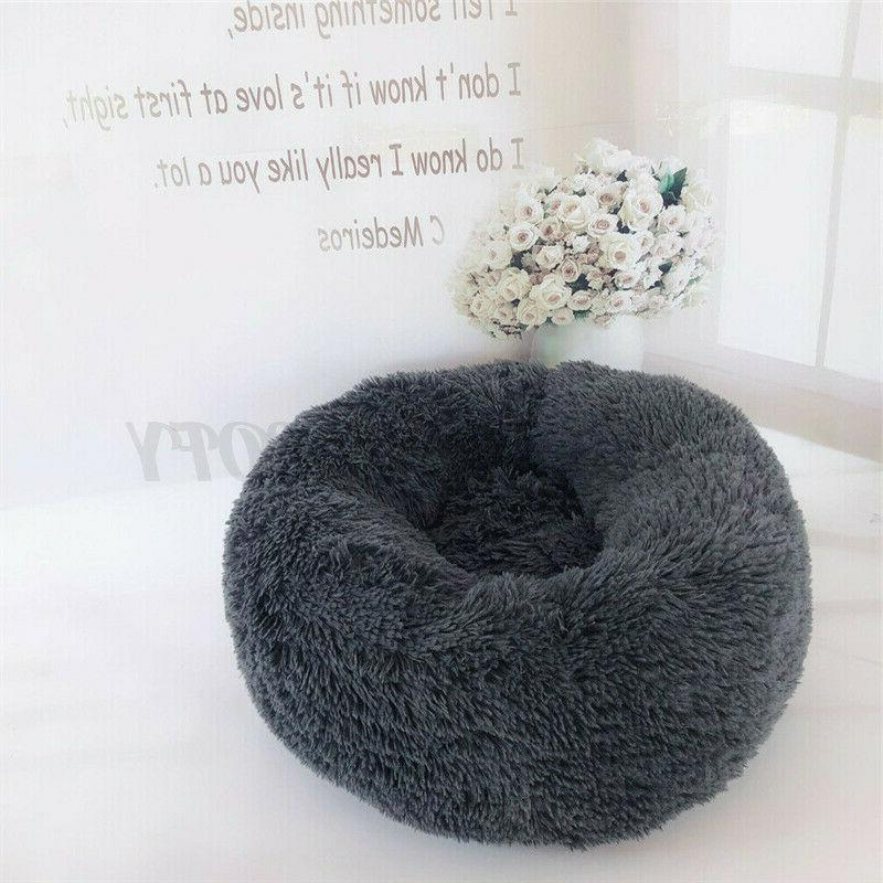 Donut Cat Fluffy Warm Calming Bed Sleeping Kennel Nest