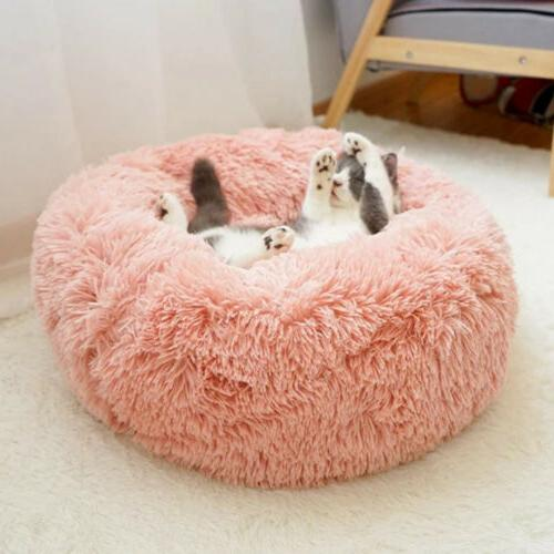 Donut Plush Pet Cat Fluffy Soft Warm Calming Bed Kennel Nest
