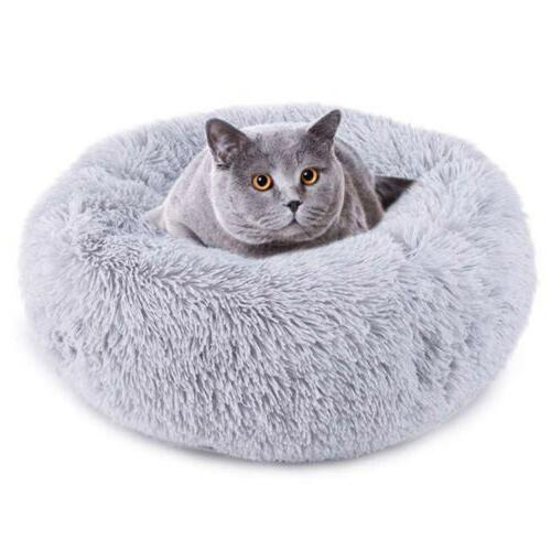 Donut Dog Cat Bed Fluffy Warm Bed Sleeping Kennel Nest