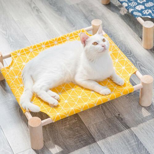 Durable Canvas Cat Bed House Elevated Pet Hammocks Wood Loun