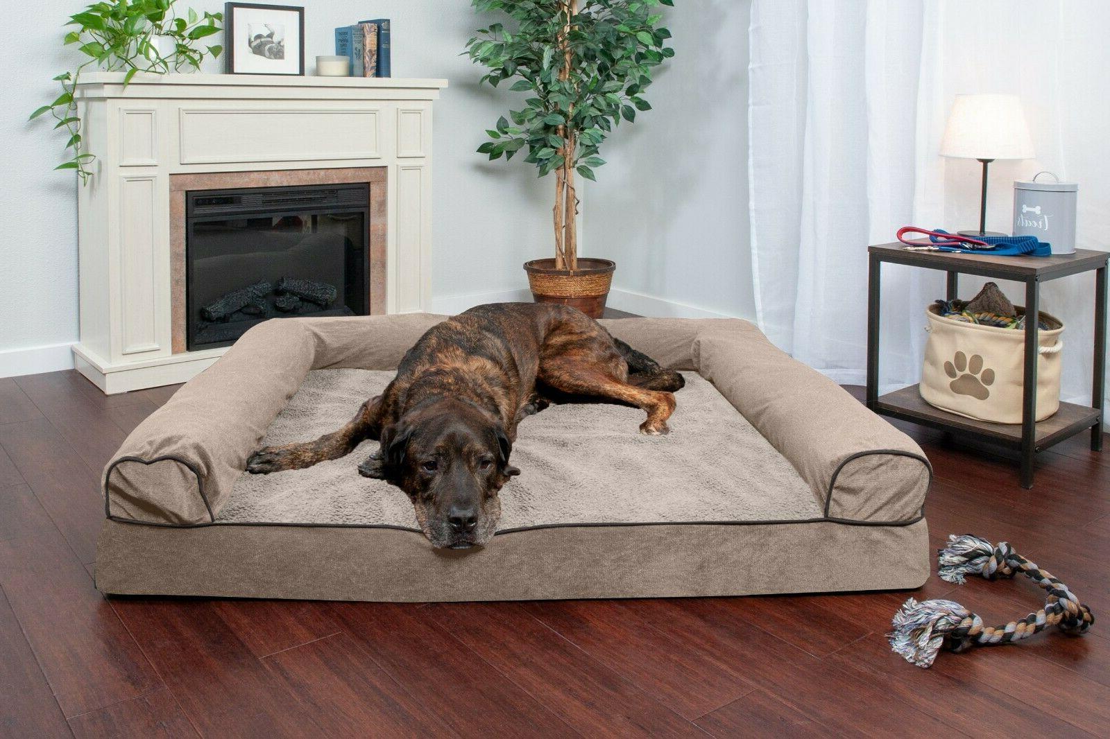 FurHaven Pet Faux Fleece & Chenille Soft Woven Sofa Dog Bed