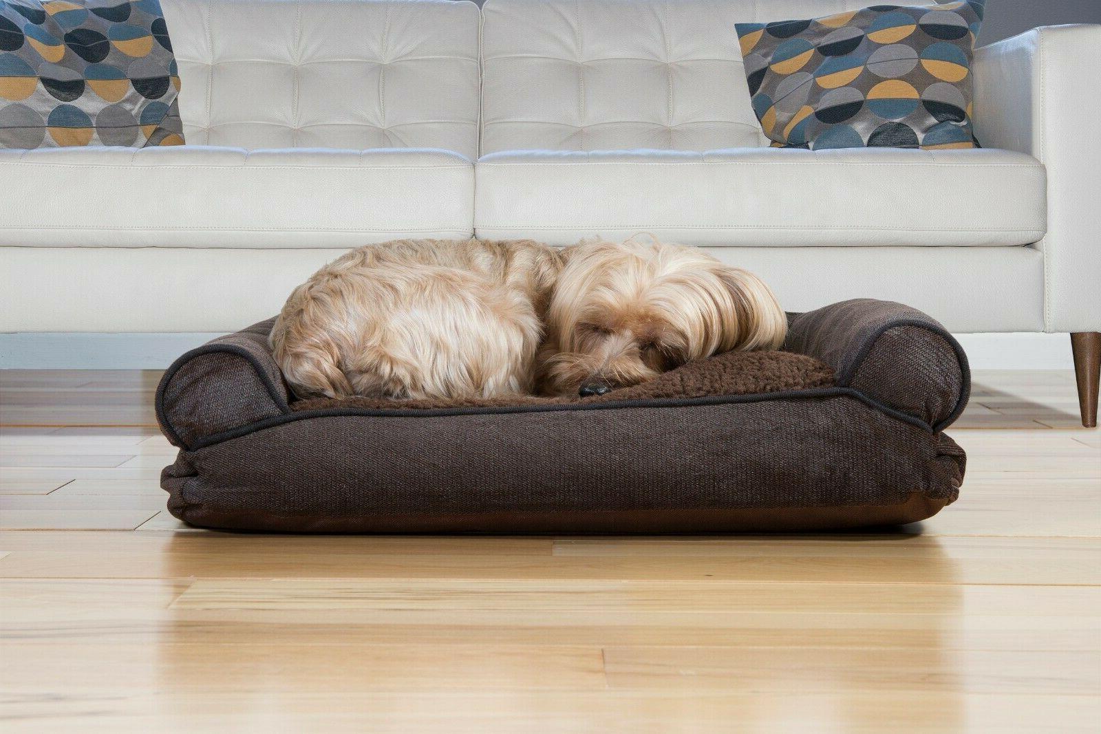 FurHaven Faux Fleece & Chenille Soft Woven Pillow Sofa Pet B